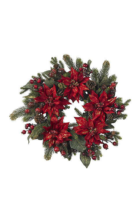 Nearly Natural 24 in Poinsettia and Berry Wreath