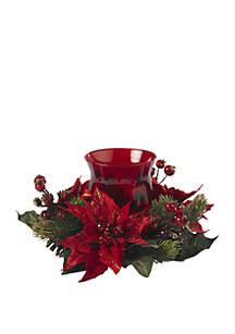 Poinsettia & Berry Candelabrum