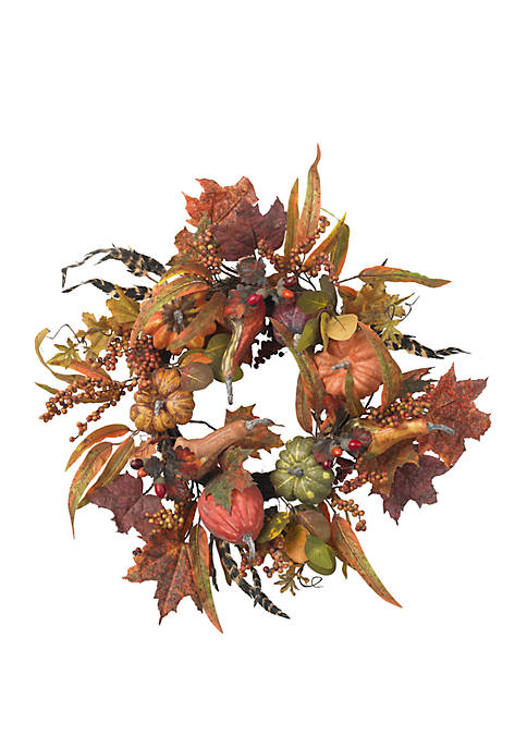 Nearly Natural 24 in Pumpkin and Berry Wreath
