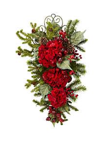 Nearly Natural 27 in Christmas Hydrangea Teardrop