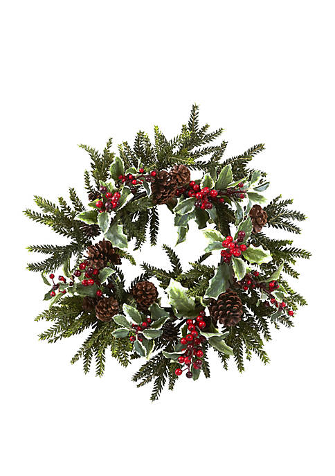 Nearly Natural 22 in Holly Berry Wreath