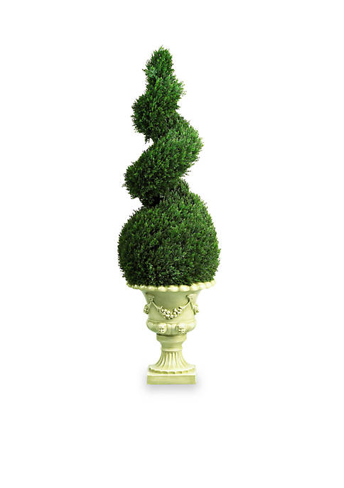 Nearly Natural 4-ft. Cedar Spiral W/Decorative Vase