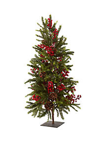 Nearly Natural 3 Ft Pine and Berry Christmas Tree