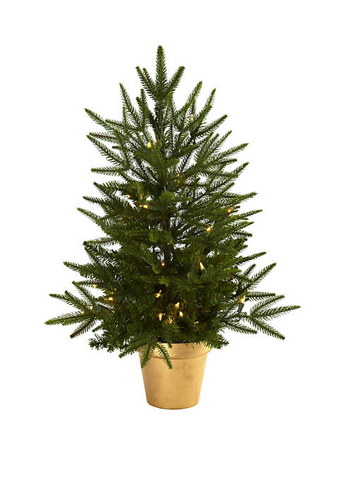 Nearly Natural 2.5 ft Christmas Tree with Golden