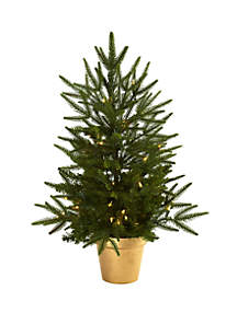 Nearly Natural 2.5 ft Christmas Tree with Golden Planter & Clear Lights