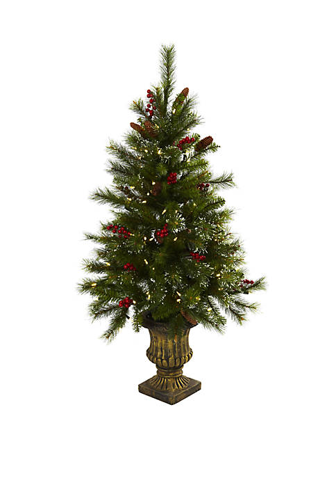 Nearly Natural 4 ft Christmas Tree with Berries