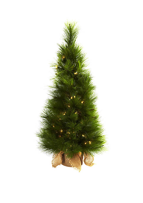 Nearly Natural 3 ft Christmas Tree with Burlap
