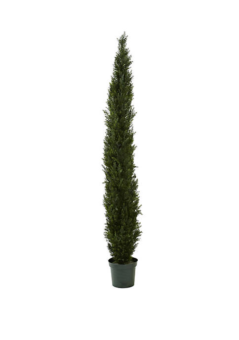 8 ft Mini Cedar Pine Tree with 4249 tips in 12 in Pot (Two Tone Green)