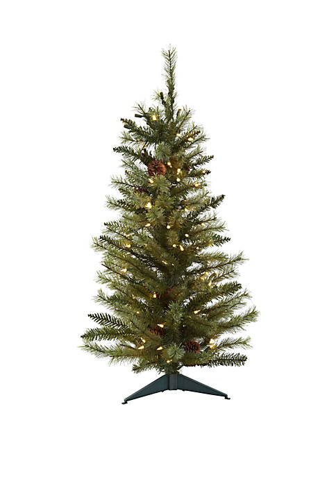 Nearly Natural 3 ft Christmas Tree with Pine