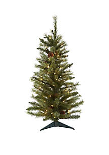 3 ft Christmas Tree with Pine Cones and Clear Lights