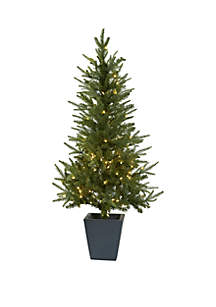 4.5 ft Christmas Tree with Clear Lights & Decorative Planter