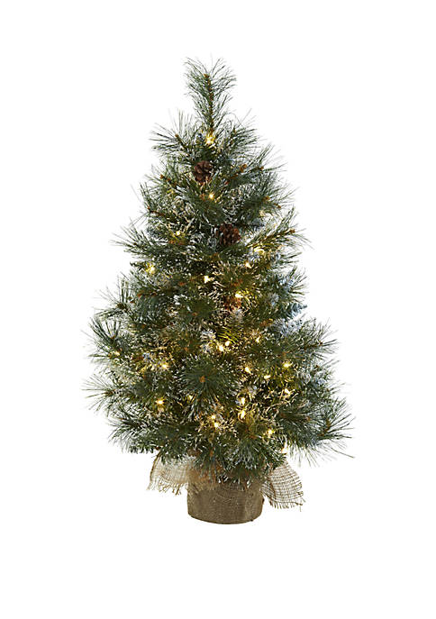 Nearly Natural 3 ft Christmas Tree with Clear