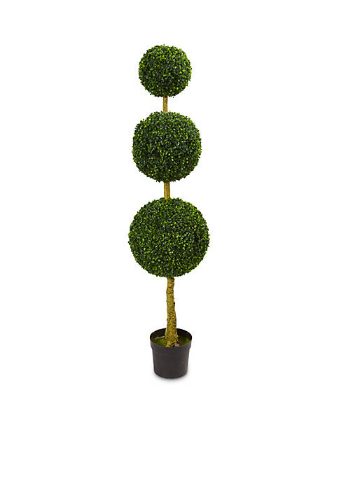 Nearly Natural 5.5-ft. Triple Ball Boxwood Artificial Topiary