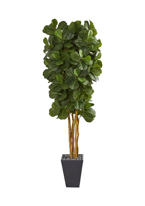 Nearly Natural Fiddle Leaf Tree in Slate Planter