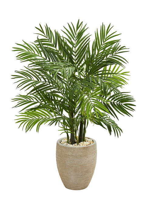 Nearly Natural Areca Palm Tree in Sand Planter