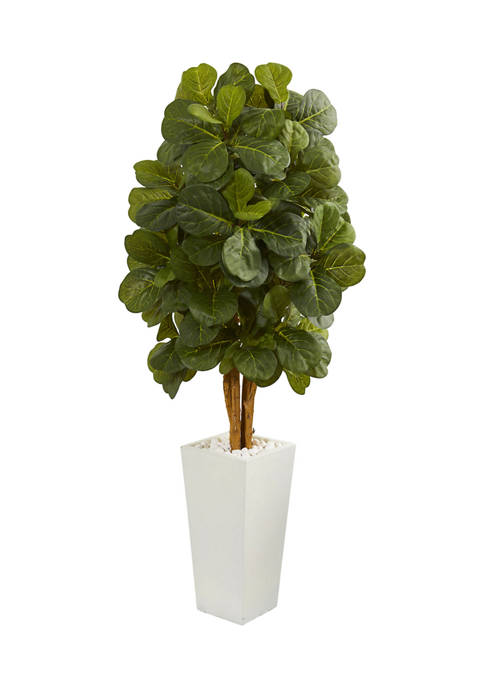 Nearly Natural Fiddle Leaf Tree in Tower Planter