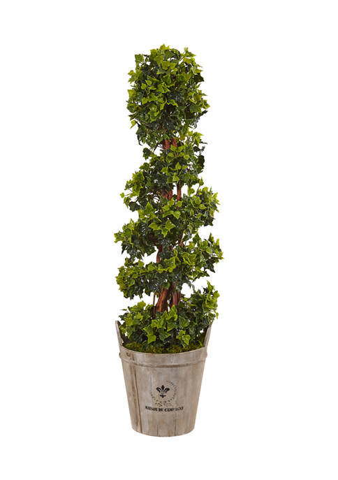Nearly Natural English Ivy Tree in Farmhouse Planter