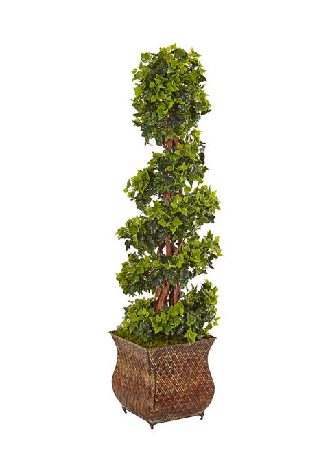 Nearly Natural English Ivy Spiral Tree in Metal