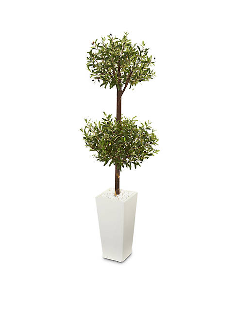 Nearly Natural Olive Artificial Double Topiary Tree
