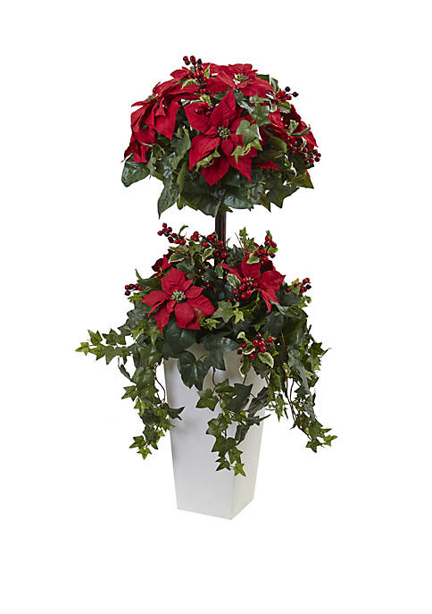 Nearly Natural 4 ft Poinsettia Berry Topiary with