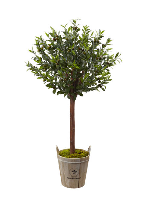Nearly Natural Olive Topiary Tree with European Barrel