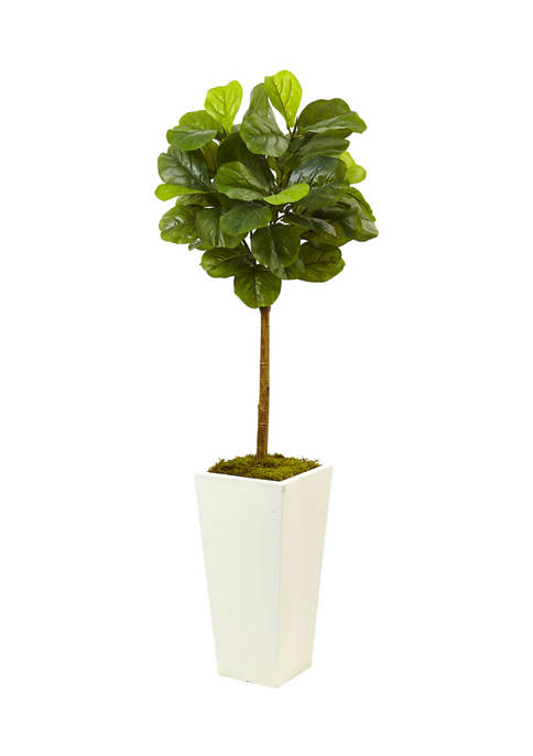 Nearly Natural Fiddle Leaf Fig in White Planter
