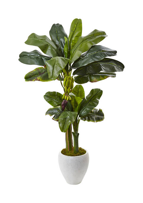 Nearly Natural Double Stalk Banana Tree in Planter