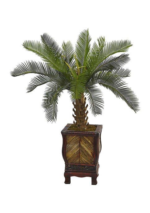 Nearly Natural Cycas Tree in Wood Planter