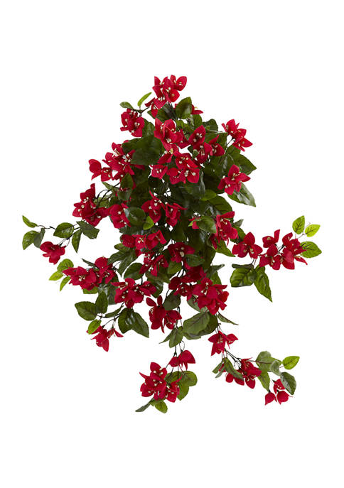 Nearly Natural Bougainvillea Hanging Bush Plant Indoor/Outdoor