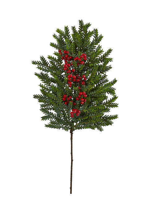 Nearly Natural 34 Inch Pine and Berries Artificial