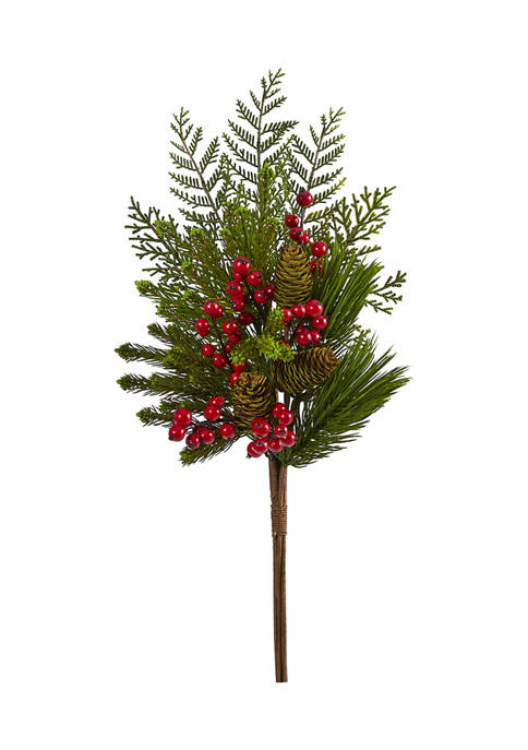 Nearly Natural 26 Inch Mixed Pine, Pinecone and