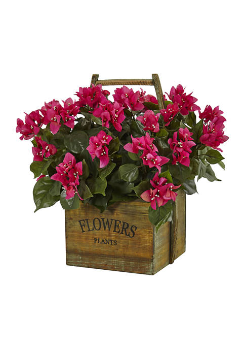 Nearly Natural Bougainvillea Flowering Plant in Rustic Wood