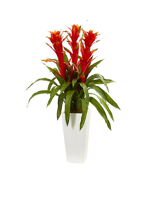 Nearly Natural Bromeliad Artificial Plant in White Tower