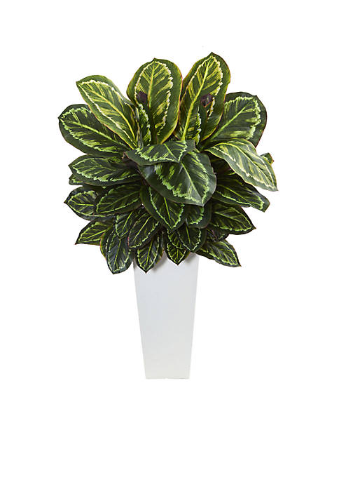 Nearly Natural Maranta Artificial Plant in White Tower