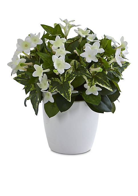 Stephanotis Artificial Plant in White Vase