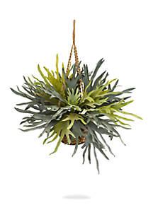 Staghorn Hanging Basket Artificial Plant