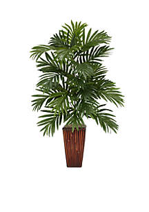 Areca Palm Silk Plant with Bamboo Vase