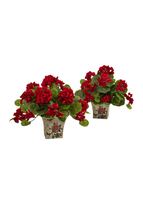 Nearly Natural Geranium Flowering Silk Plant with Floral