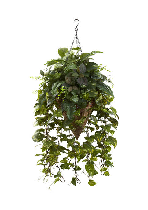 Nearly Natural Vining Assorted Greens with Cone Hanging