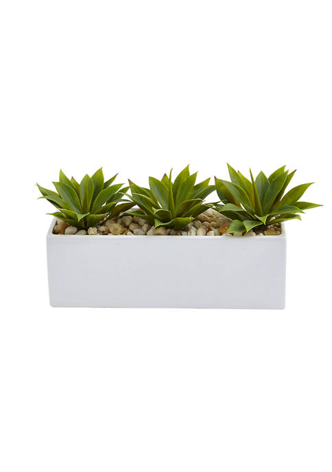 Nearly Natural Agave Succulent in Rectangular Planter