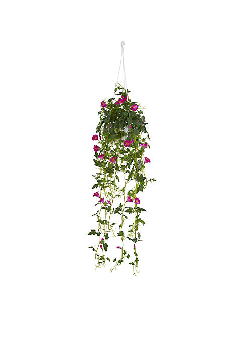 Nearly Natural Petunia Hanging Basket Artificial Plant