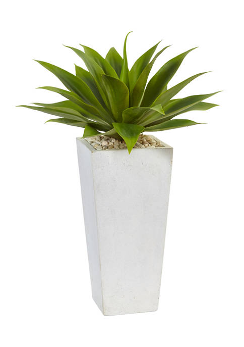 Nearly Natural Agave Plant in White Planter