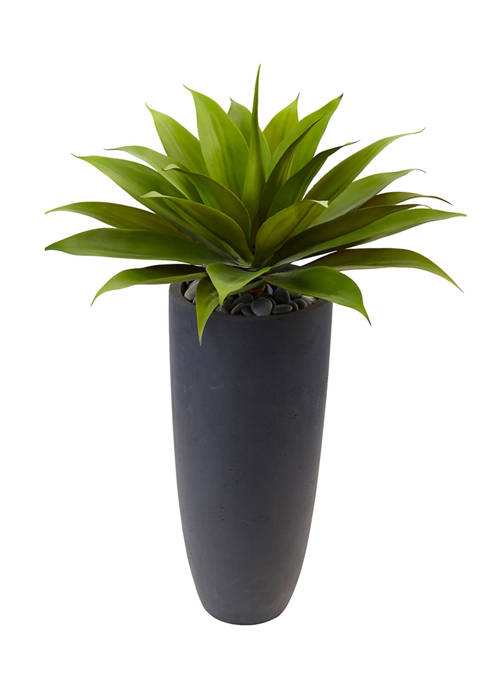Nearly Natural Agave Plant in Cylinder Planter