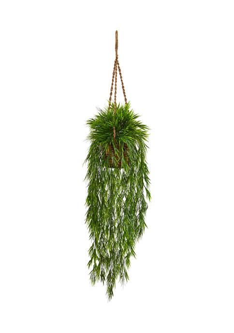 Nearly Natural Mini Bamboo Plant Hanging Basket