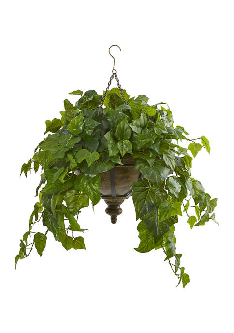 Nearly Natural London Ivy Plant in Hanging Bowl