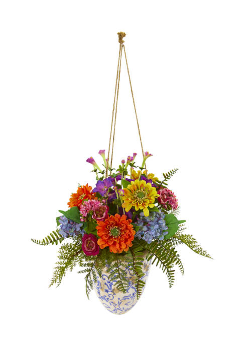 Nearly Natural Assorted Flowers Plant in Hanging Vase