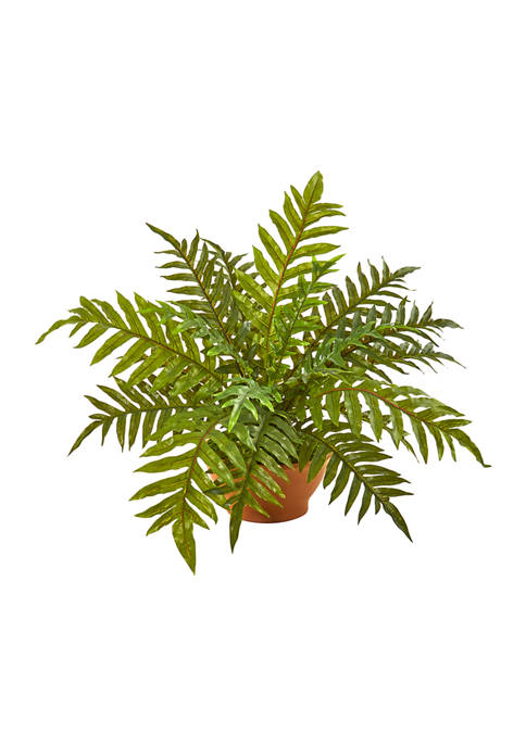 Nearly Natural Hares Foot Fern Plant in Planter