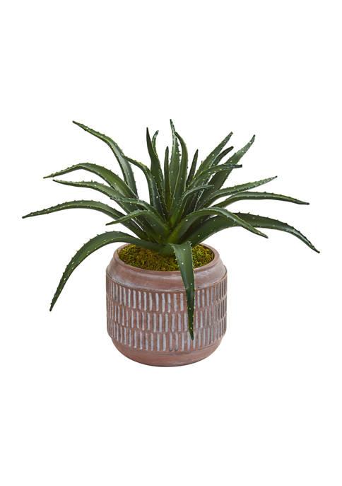 Nearly Natural Aloe Succulent Plant in Decorative Planter