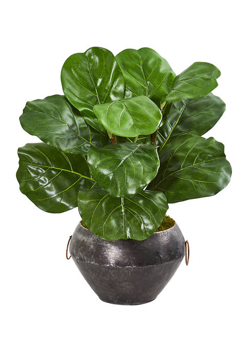 Nearly Natural Fiddle Leaf Plant in Decorative Planter