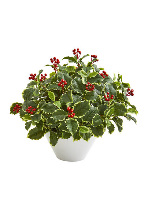 Nearly Natural Variegated Holly Leaf Plant in Vase